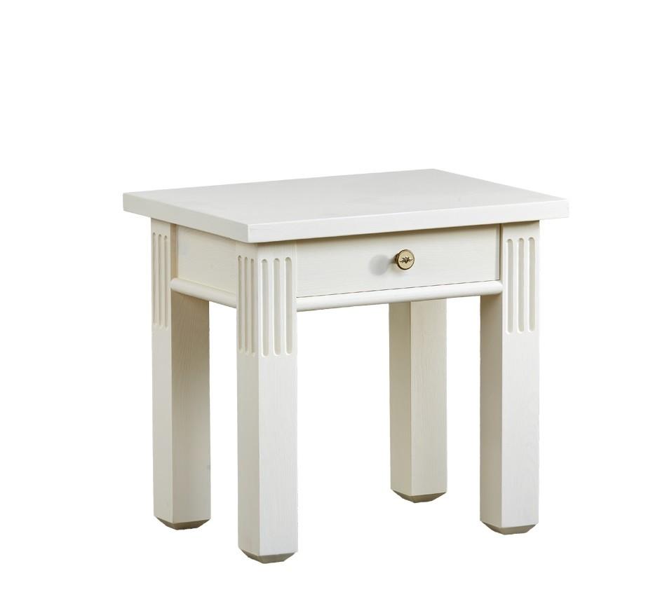 bielý nočný stolík z dreva  so šuflikom