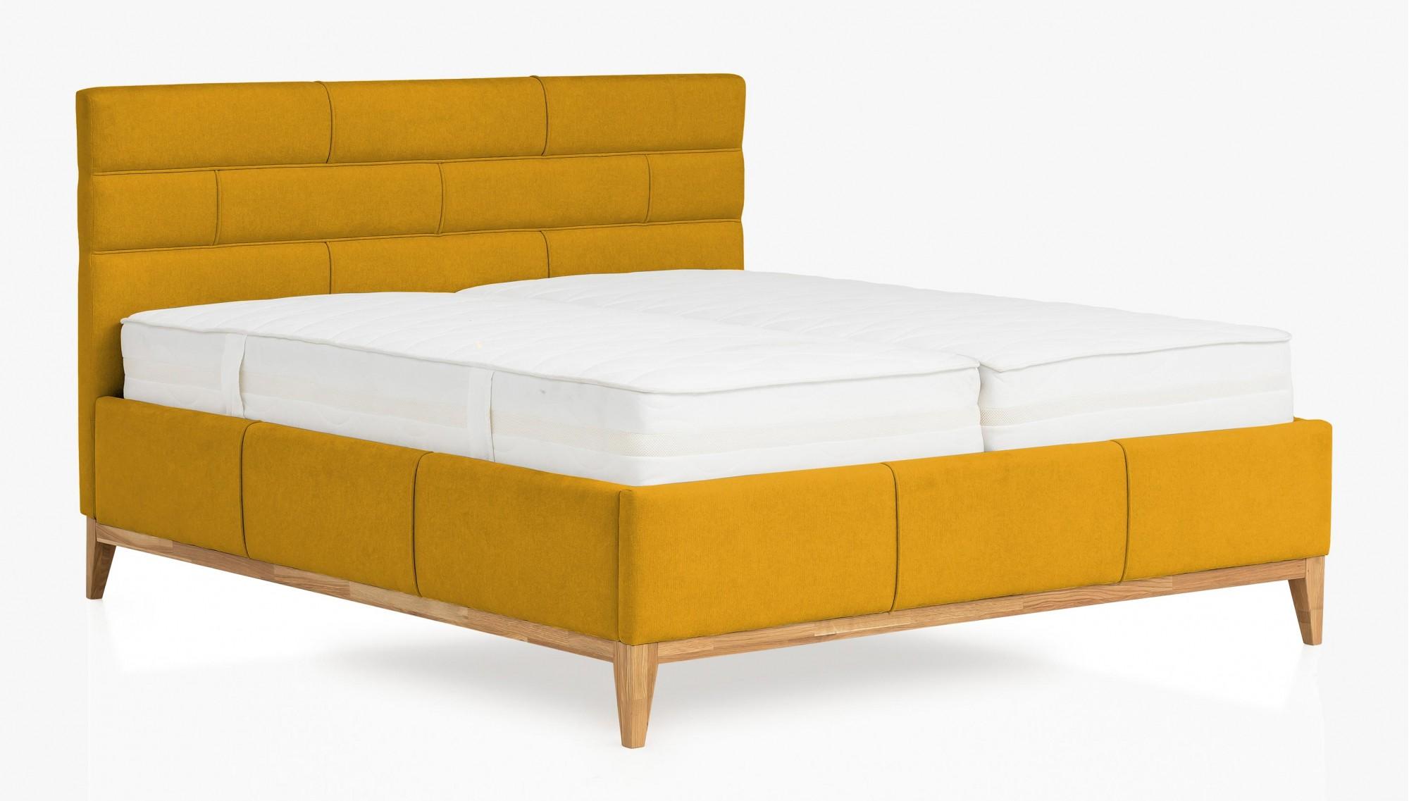 Manželská posteľ boxspring . žltá látka