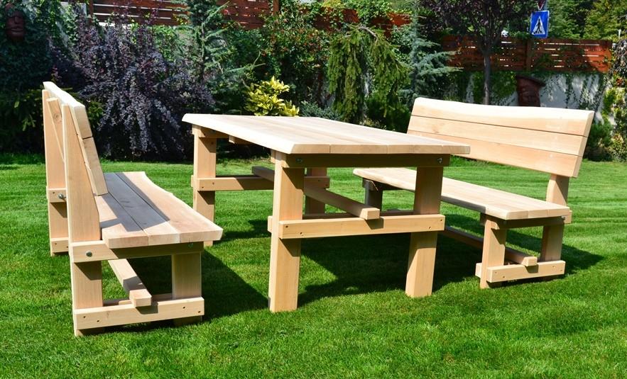 Pevná drevená záhradná súprava z dubového dreva dĺžka 150 cm