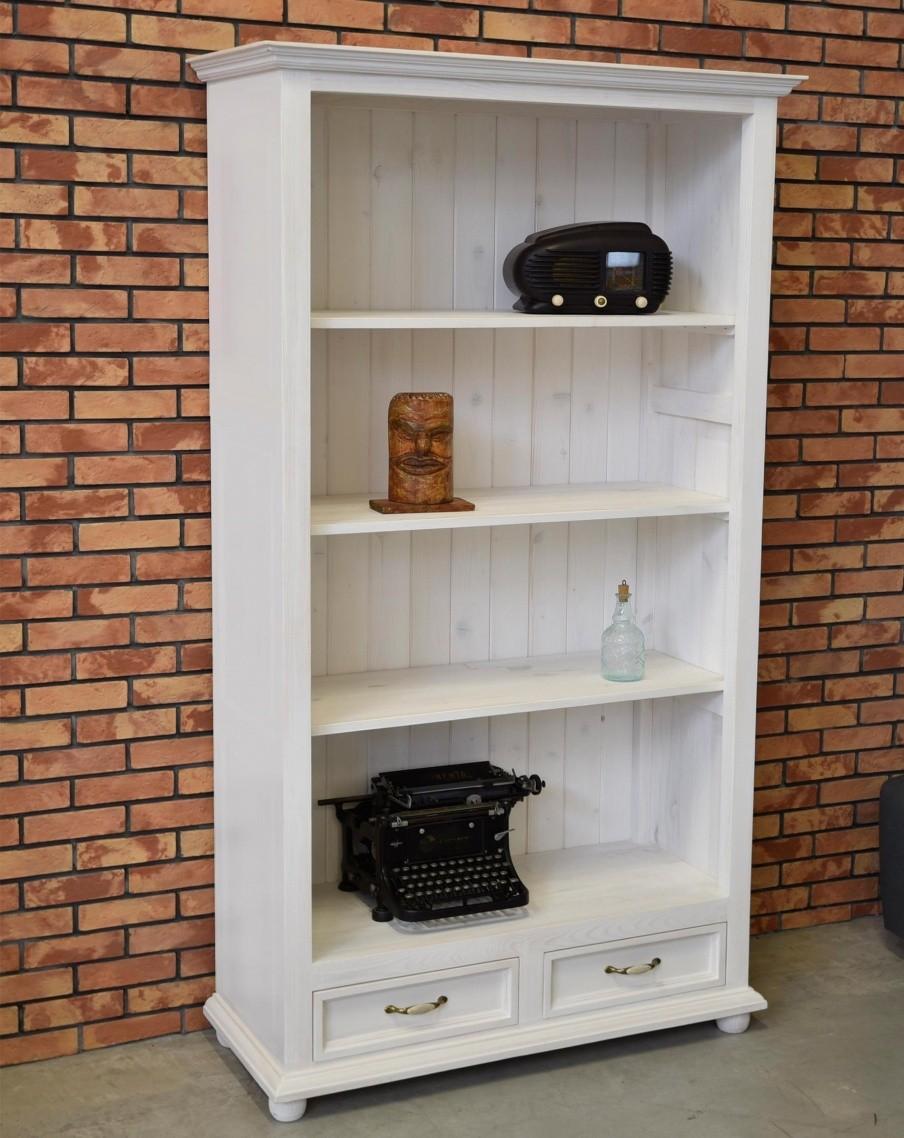 Biela knižica do obývačky z dreva