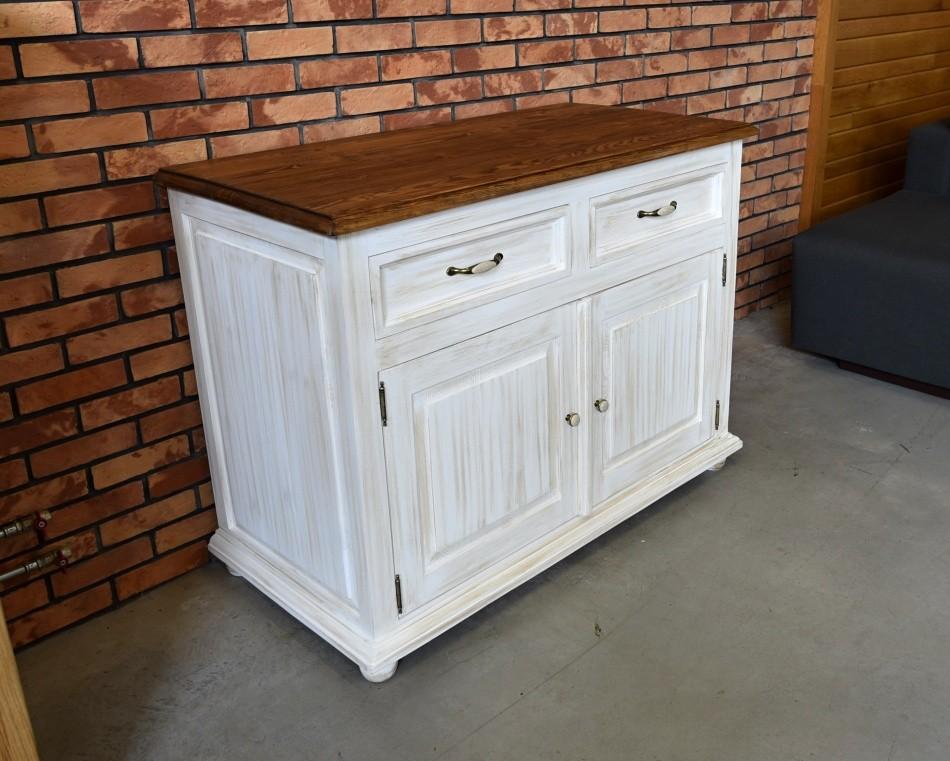 Drevená komoda biela patina