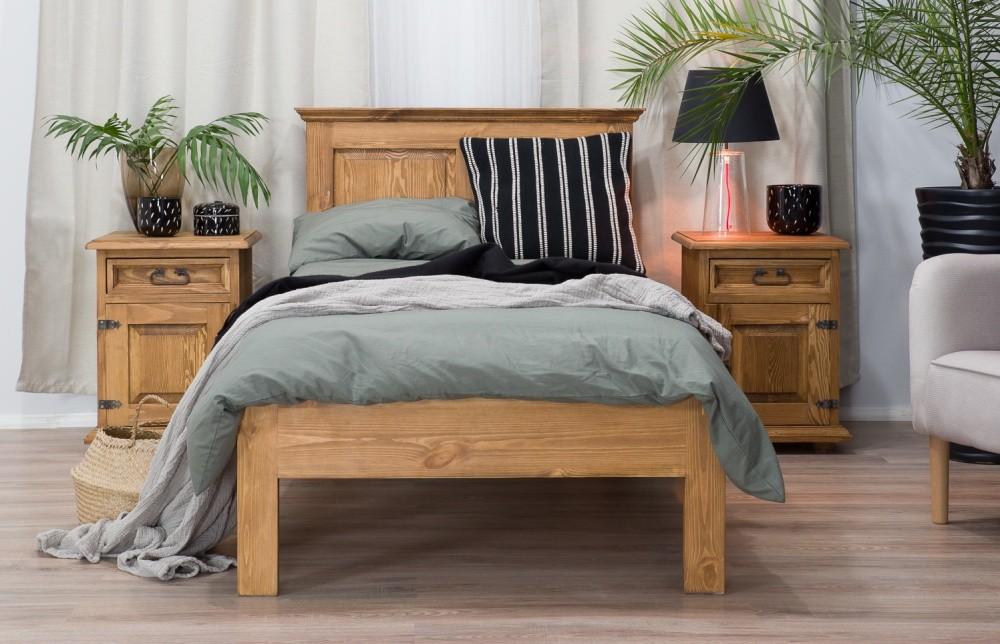 Posteľ z masívu 90 x 200, vidiecký voskovaný nábytok