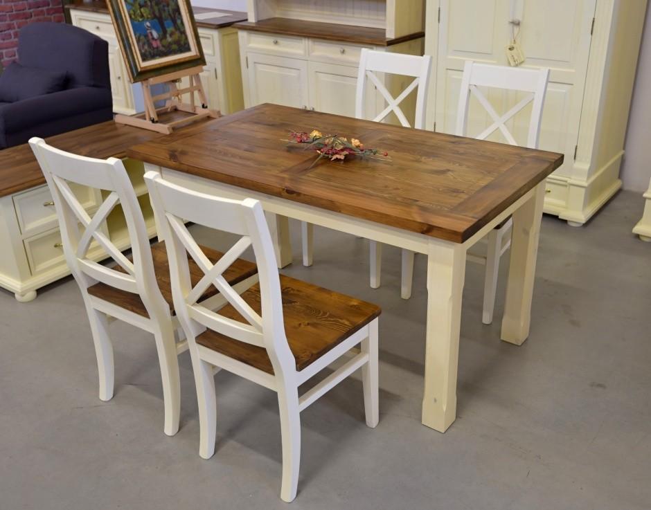 Drevený stôl do jedálne biely s vrchnou doskou hnedou