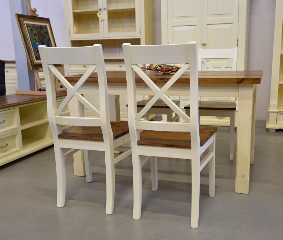 Stôl do jedálne vrchná doska hnedá nohy biele