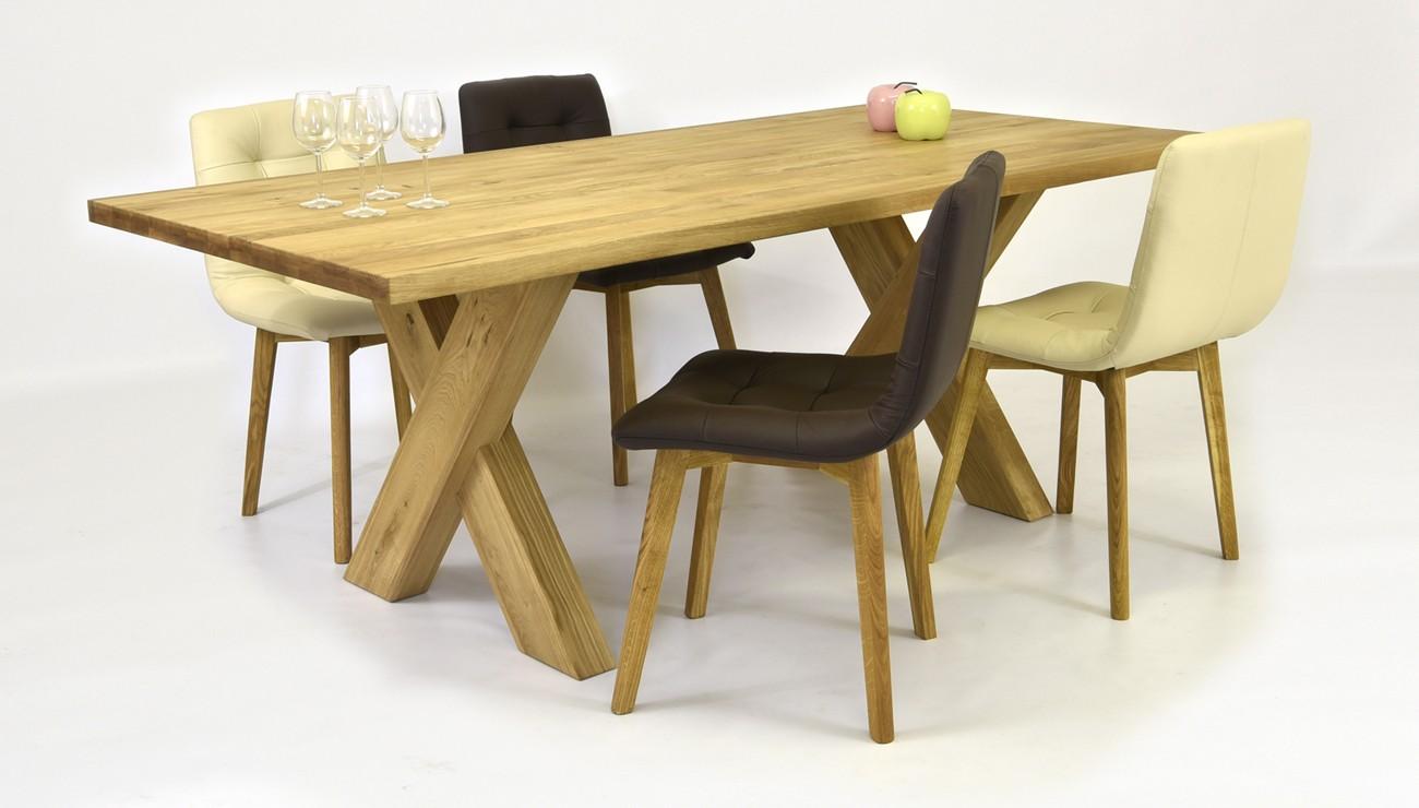 20a666d2757e Moderný rodinný stôl z dubu do jedálne a pohodlná kožená stolička BEIGE  alebo BROWN ...