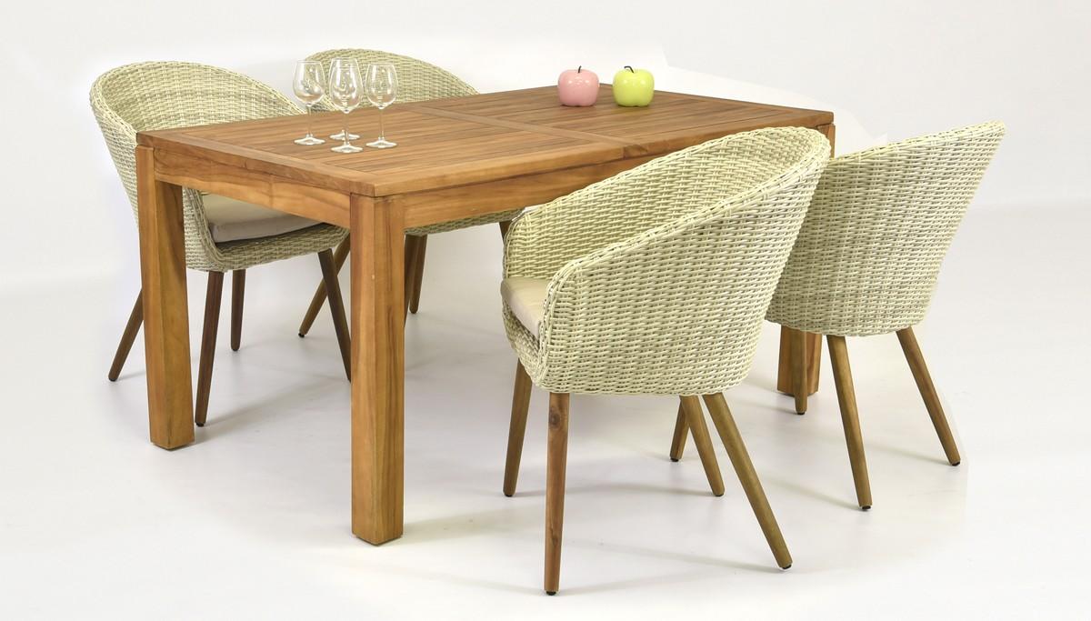 722aa12d5 Sedenie do záhrady (Stôl teak 160x90 + 4 x moderné ratanové kreslo THEO)