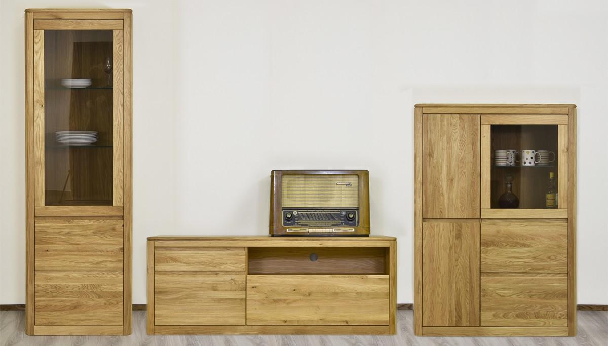 Dubový nábytok do obývačky TV komoda + vitríny