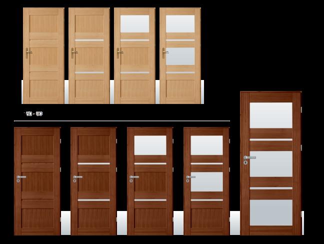 Drevené dvere so sklom model 16 možnosť náteru