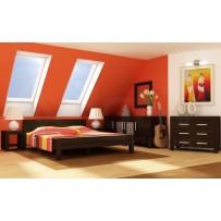 Manželské postele z masívu, (model  L 5 180 x 200  eben)
