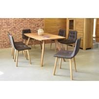 Dizajnový dubový stôl do obývačky 180 x 90 + 6 x stolička pravá talianská koža