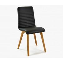 Stolička do jedálne, dubová konštrukcia - poťah pravá koža čierna