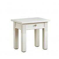 Biely nočný stolík so šuflikom