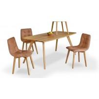 Dubový stôl a stoličky z pravej kože