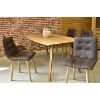 Dubový stôl do obývačky 140,160 alebo 180cm dlhý + kožené stoličky