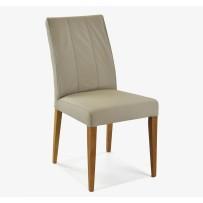 Svetlo sivá kožená jedálenská stolička v retro štýle  (Klaudia)