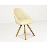 Kožená stolička do jedálne svetlá koža