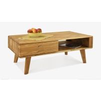 Retro konferenčný stolík z dubu so šuflíkom Janošik 67