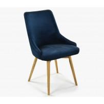 Čalúnená jedalenská stolička zamatová Laura - modrá