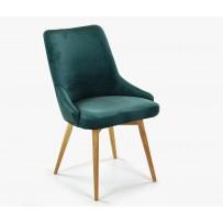 Čalúnená jedalenská stolička zamatová Laura - zelená