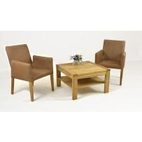 Kožené lounge kreslo + dubový stolček
