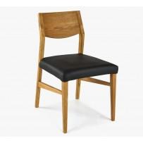 Stolička do jedálne, dubová konštrukcia - kožený sedák