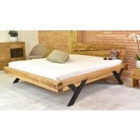 Manželská posteľ z dubového dreva oceľove nohy 160 x 200 alebo 180 x 200