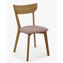 Jedálenská dubová stolička EVA ružová