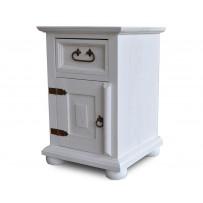 Biely nočný stolík z dreva