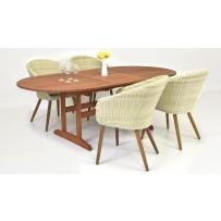 Záhradné sedenie 4+1 (ratanové kreslá + rozťahovací meranti stôl)