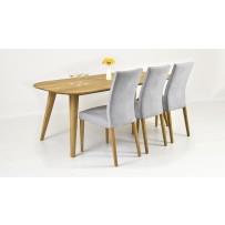 Moderný jedálenský set stôl masív dub 200 x 100 a 4 x pohodlné stoličky