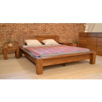 Pevná drevená posteľ z masívu, určená pre náročných - farba orech