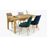 Luxusný dubový stôl rozkladací + zamatové stoličky do jedálne