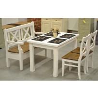 Stôl do jedálne biely s lavicou