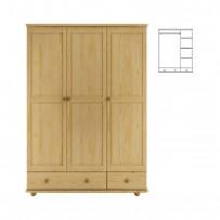 Trojdverová šatníková skriňa z dreva (133) AKCIA