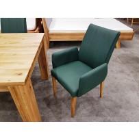Jedálenská stoličky s podrúčkami, pravá koža zelená