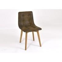 Jedálenska dubová stolička Leonardo - hnedá - IMITÁCIA KOŽE
