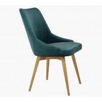 Stolička do jedálne Novinka 2019 -- Čalúnená jedalenská stolička zamatová Laura - zelená
