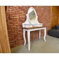 Toaletný stolík hnedá doska + biela