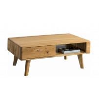 Retro konferenčný stolík z dubu so šuflíkom