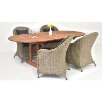 Záhradné sedenie AKCIA (Záhradný skladací stôl + ratanové kreslá)